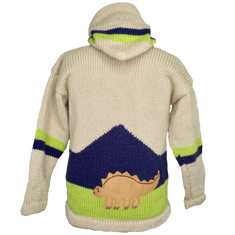 Boy's Dinosaur Jumper in beige with a hood and zip front.