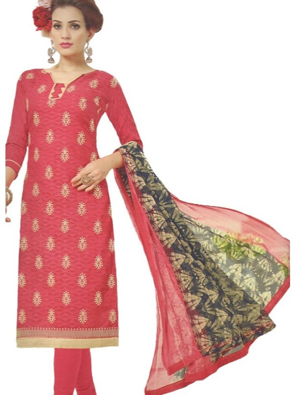 Embroidered Jacquard Cotton Unstitched Dress Material For Women