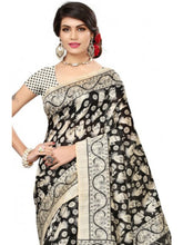 Load image into Gallery viewer, Printed Bhagalpuri Art Silk Black With Sandal Color
