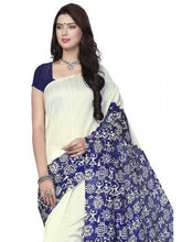 Load image into Gallery viewer, Printed Bhagalpuri Art Silk White with Blue Color