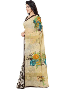 Printed Faux Georgette Brown Color Saree