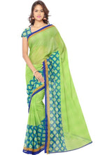 Load image into Gallery viewer, Printed Faux Georgette Green Color Saree
