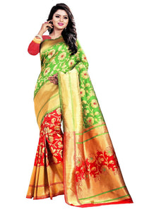 Green,Red Color Jacquard Saree with Blouse