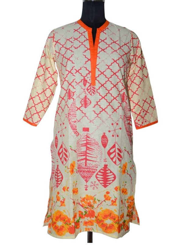 Orange color Cotton Printed Kurti