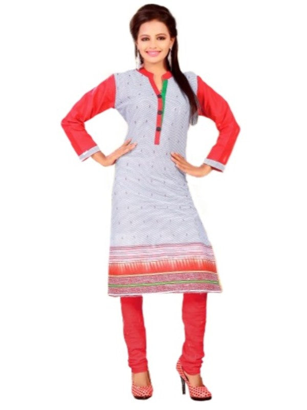 Grey and Red Printed Casual Women's Kurti