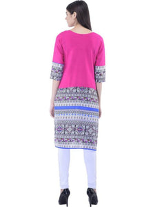 Women's  Pink Printed  Straight Kurti With 3/4th Sleeves