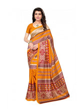 Load image into Gallery viewer, Printed Bhagalpuri Art Silk Yellow with Multicolor Saree