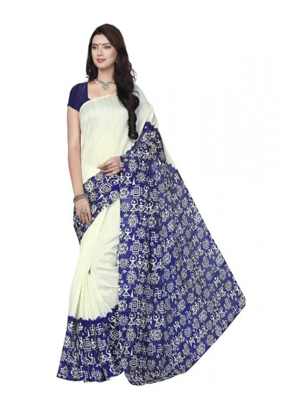 Printed Bhagalpuri Art Silk White with Blue Color