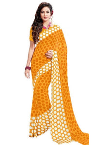 Georgette Digital Saree With Blouse-Yellow