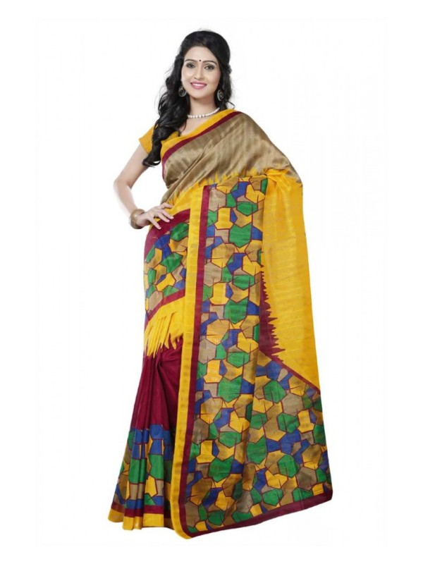 Printed Bhagalpuri Art Silk multicolor Saree