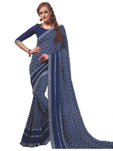 Load image into Gallery viewer, Georgette Digital Printed Saree With Blouse Dark Blue Color Saree