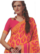 Load image into Gallery viewer, Georgette Digital Printed Saree With Blouse Dark Pink with Orange Color Saree