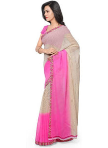Printed Faux Georgette Light pink Color Saree