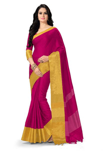 Generic Women's 100% Gas Mercerized  Handloom Cotton Soft Silk Saree (Pink, 5.5-6mtrs)