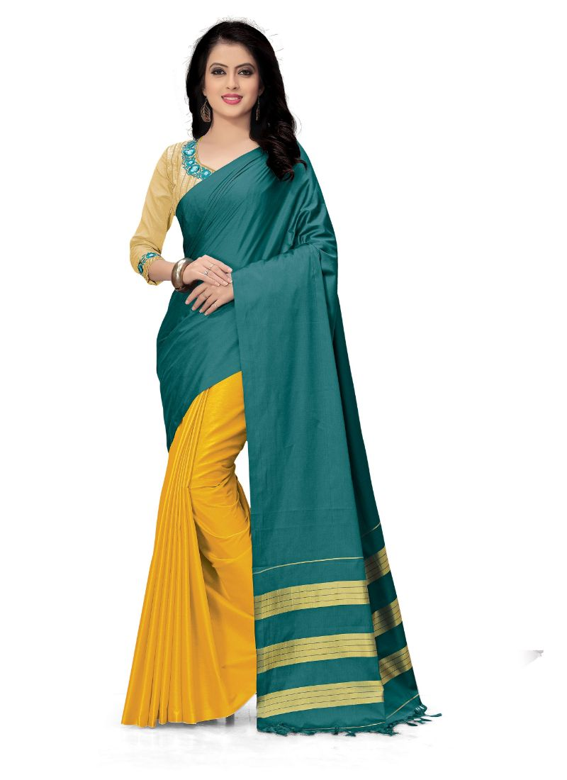 Generic Women's Handloom Cotton Soft Silk Saree (Dark Green And Yellow, 5.5-6mtrs)