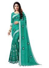 Load image into Gallery viewer, Generic Women's Blended Cotton Linen  Saree (Green, 5.5-6mtrs)