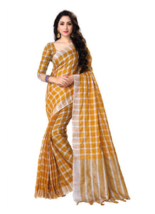 Generic Women's Blended Cotton Linen  Saree (Mustard, 5.5-6mtrs)