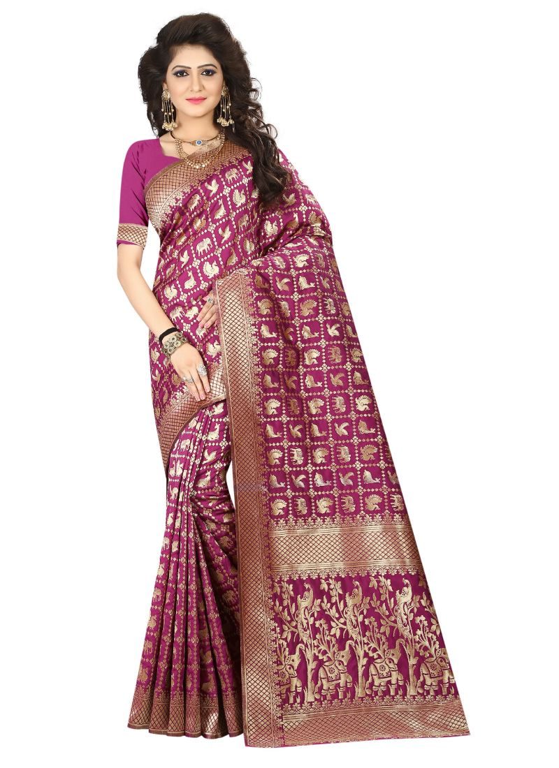 Generic Women's Jacquard Art silk Saree with Blouse (Magenta, 5-6 Mtrs)