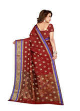Load image into Gallery viewer, Generic Women's Poly Silk Saree with Blouse (Maroon, 5-6 Mtrs)
