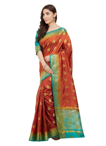 Generic Women's Nylon Silk Saree with Blouse (Orange, 5-6 Mtrs)