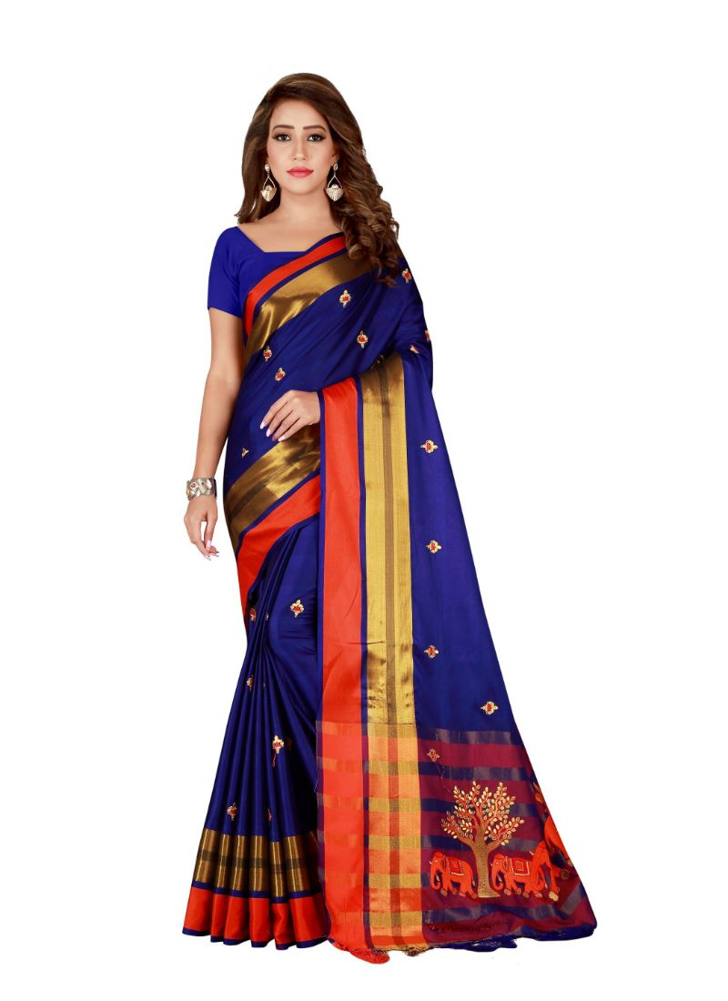 Generic Women's Cotton Blend Saree with Blouse (Blue, 5-6 Mtrs)