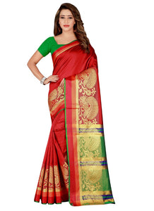 Generic Women's Poly Silk Saree with Blouse (Red, 5-6 Mtrs)