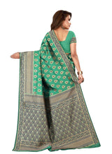 Load image into Gallery viewer, Generic Women's Banarasi silk Saree with Blouse (Green, 5-6 Mtrs)