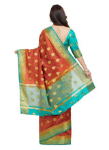 Load image into Gallery viewer, Generic Women's Nylon Silk Saree with Blouse (Orange, 5-6 Mtrs)