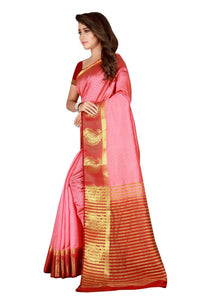 Generic Women's Nylon Silk Saree with Blouse (Peach, 5-6 Mtrs)