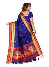 Load image into Gallery viewer, Generic Women's Cotton Blend Saree with Blouse (Blue, 5-6 Mtrs)