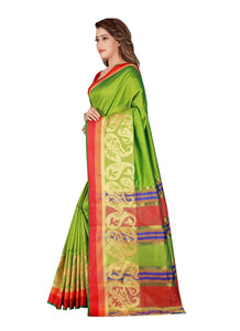 Generic Women's Poly Silk Saree with Blouse (Green, 5-6 Mtrs)