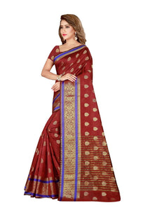 Generic Women's Poly Silk Saree with Blouse (Maroon, 5-6 Mtrs)