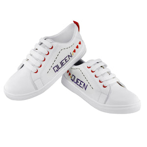 Generic Women White,Red Color Leatherette Material  Casual Sneakers