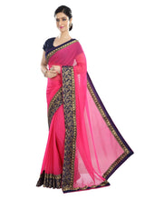 Load image into Gallery viewer, Generic Women's Chiffon Saree (Peach, 5-6 Mtrs)