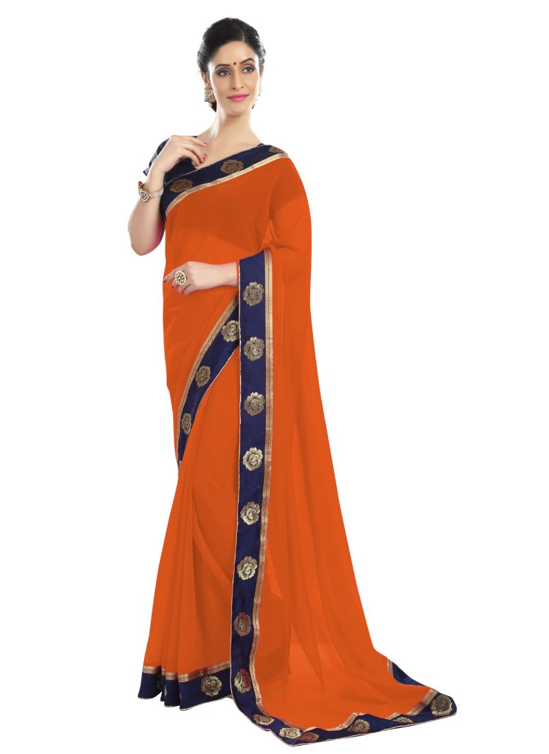 Generic Women's Chiffon Saree (Orange, 5-6 Mtrs)