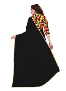 Generic Women's Chiffon Saree (Black, 5-6 Mtrs)