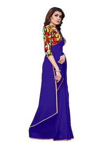 Generic Women's Chiffon Saree (Royal Blue, 5-6 Mtrs)