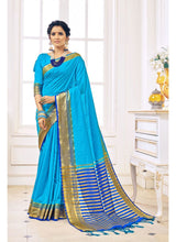 Load image into Gallery viewer, Generic Women's Cotton Art Silk Saree With Blouse (Blue, 5-6 Mtrs)