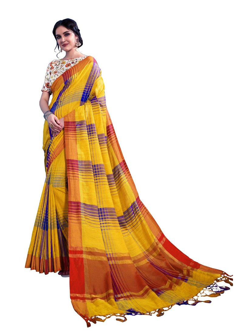 Generic Women's Linen Art Silk Saree With Blouse (Yellow, 5-6 Mtrs)