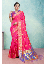Load image into Gallery viewer, Generic Women's Kanjeevaram Art Silk Saree With Blouse (Pink, 5-6 Mtrs)