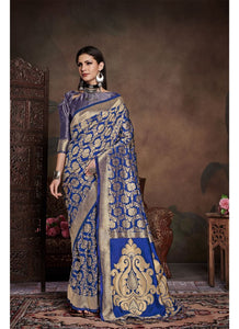 Generic Women's Banarasi Art Silk Saree With Blouse (Blue, 5-6 Mtrs)