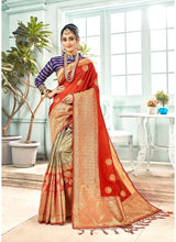 Load image into Gallery viewer, Generic Women's Banarasi Art Silk Saree With Blouse (Orange, 5-6 Mtrs)