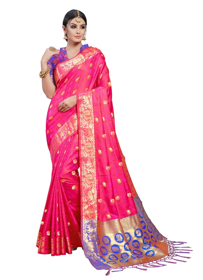 Generic Women's Kanjeevaram Art Silk Saree With Blouse (Pink, 5-6 Mtrs)