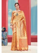 Load image into Gallery viewer, Generic Women's Banarasi Art Silk Saree With Blouse (Mustard, 5-6 Mtrs)