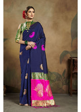 Load image into Gallery viewer, Generic Women's Banarasi Art Silk Saree With Blouse (Navy Blue, 5-6 Mtrs)