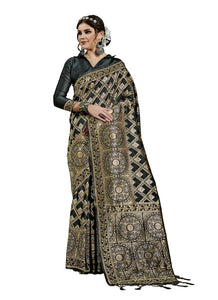 Generic Women's Kanjeevaram Art Silk Saree With Blouse (Black, 5-6 Mtrs)