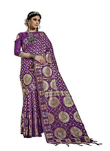 Load image into Gallery viewer, Generic Women's Kanjeevaram Art Silk Saree With Blouse (Purple, 5-6 Mtrs)