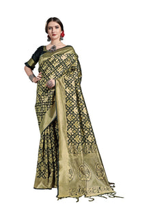 Generic Women's Tanchui Art Silk Saree With Blouse (Black, 5-6 Mtrs)