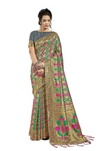 Load image into Gallery viewer, Generic Women's Banarasi Art Silk Saree With Blouse (Grey, 5-6 Mtrs)