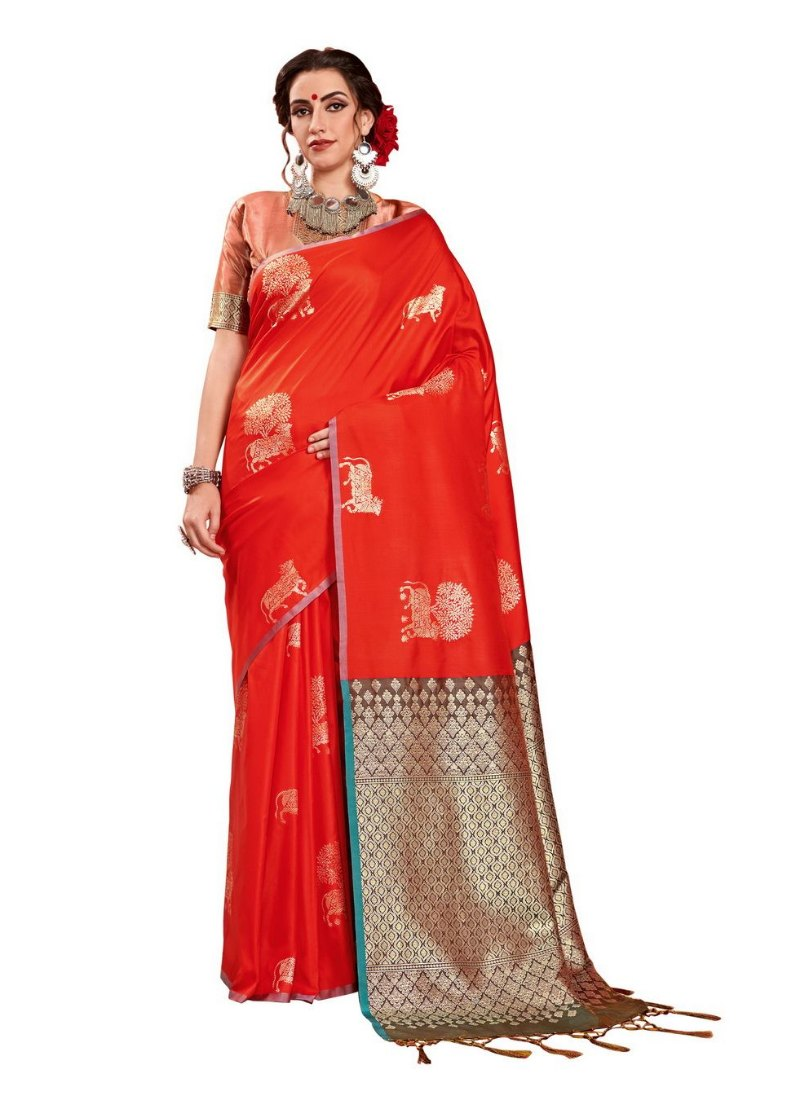 Generic Women's Kanjeevaram Art Silk Saree With Blouse (Red, 5-6 Mtrs)